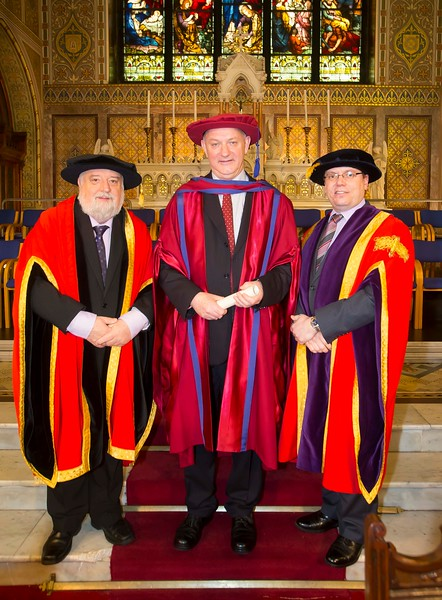 06/01/2015. FREE TO USE IMAGE. WIT (Waterford Institute of Technology) Conferring. Pictured is Brother Ben Hanlon, De La Salle, Waterford City who was conferred a Doctor of Philosophy, also pictured are Jack Walsh, Deputy Chairman of W.I.T and Dr. Ruaidhrí Neavyn, President WIT.  Picture: Patrick Browne