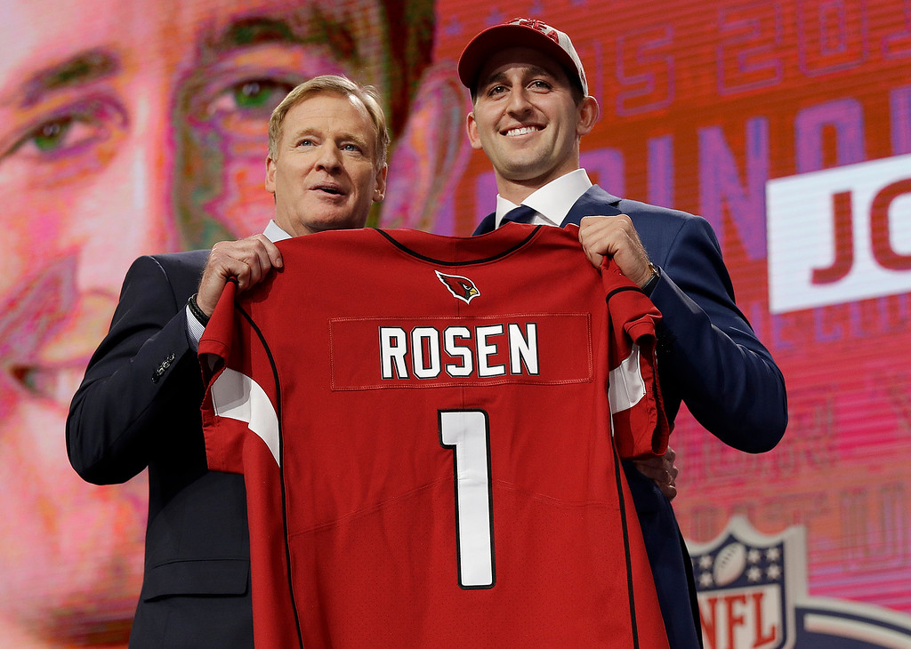 . UCLA\'s Josh Rosen, right, poses with commissioner Roger Goodell after being selected by the Arizona Cardinals during the first round of the NFL football draft, Thursday, April 26, 2018, in Arlington, Texas. (AP Photo/David J. Phillip)