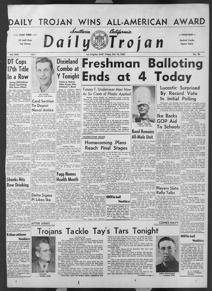 Daily Trojan, Vol. 44, No. 20, October 10, 1952
