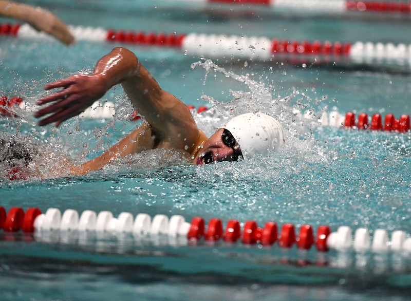 1/7/2020 Mike Orazzi   Staff Bristol swimmer Mikel Palaj in the 200 freestyle against Hall High School in Bristol.