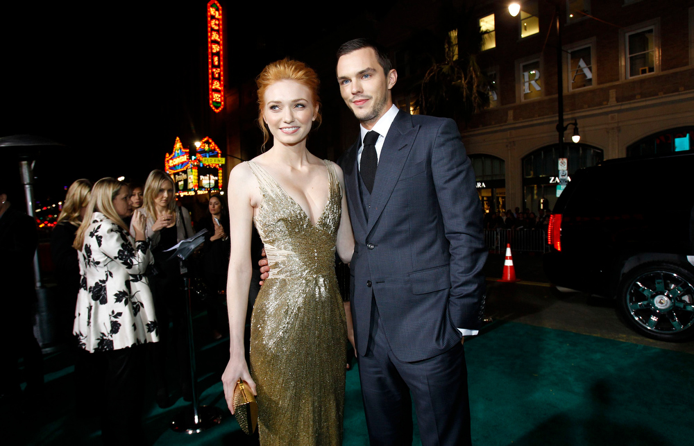 """. Cast members Nicholas Hoult and Eleanor Tomlinson pose at the premiere of \""""Jack the Giant Slayer\"""" in Hollywood, California February 26, 2013. The movie opens in the U.S. on March 1.  REUTERS/Mario Anzuoni"""