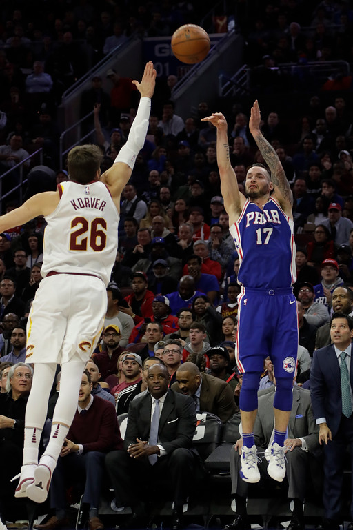 . Philadelphia 76ers\' JJ Redick in action during an NBA basketball game against the Cleveland Cavaliers, Monday, Nov. 27, 2017, in Philadelphia. (AP Photo/Matt Slocum)