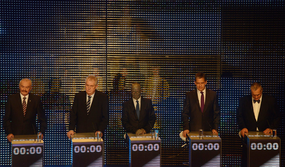 Description of . Presidential candidates (L-R) Premysl Sobotka, Milos Zeman, Vladimir Franz , Jiri Dientsbier and Karel Schwarzenberg attend the pre-election's TV debate on January 10, 2013 in Prague. The first Czech direct presidential election will be held on January 11-12, 2013.  MICHAL CIZEK/AFP/Getty Images