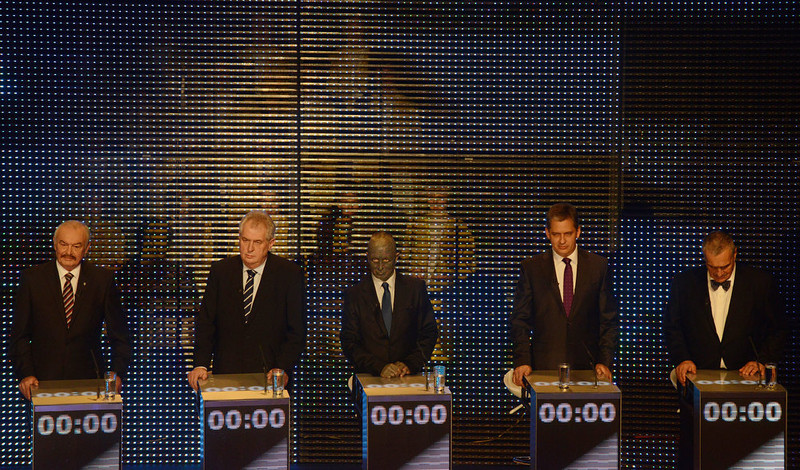 . Presidential candidates (L-R) Premysl Sobotka, Milos Zeman, Vladimir Franz , Jiri Dientsbier and Karel Schwarzenberg attend the pre-election\'s TV debate on January 10, 2013 in Prague. The first Czech direct presidential election will be held on January 11-12, 2013.  MICHAL CIZEK/AFP/Getty Images