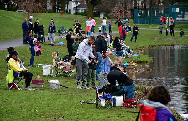 4//13/2019 Mike Orazzi | Staff Anglers during the city of New Britain's annual fishing derby held at Stanley Quarter Park on Saturday.