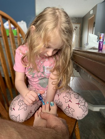 Painting Mom's Toes
