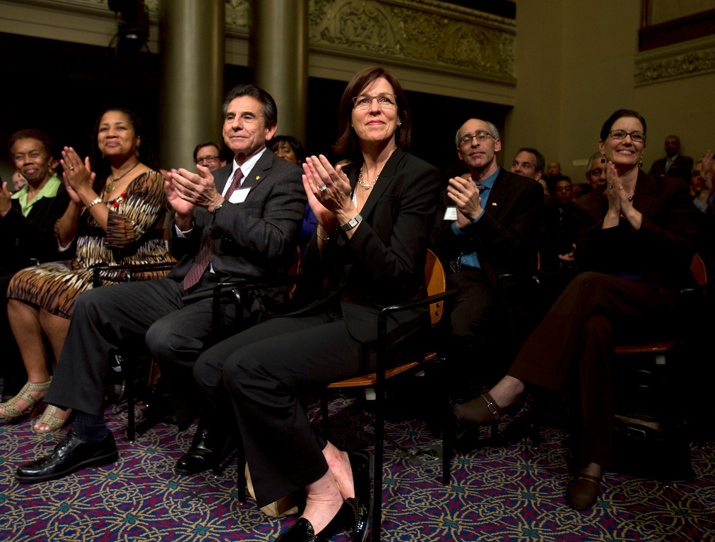. Oakland City Council members -- Lynette Gibson McElhaney, from left, Noel Gallo, Pat Kernighan, Dan Kalb and Libby Schaaf -- applaud during Mayor Jean Quan\'s State of the City address, Wednesday, Feb. 27, 2013 at City Hall in Oakland, Calif. (D. Ross Cameron/Staff)