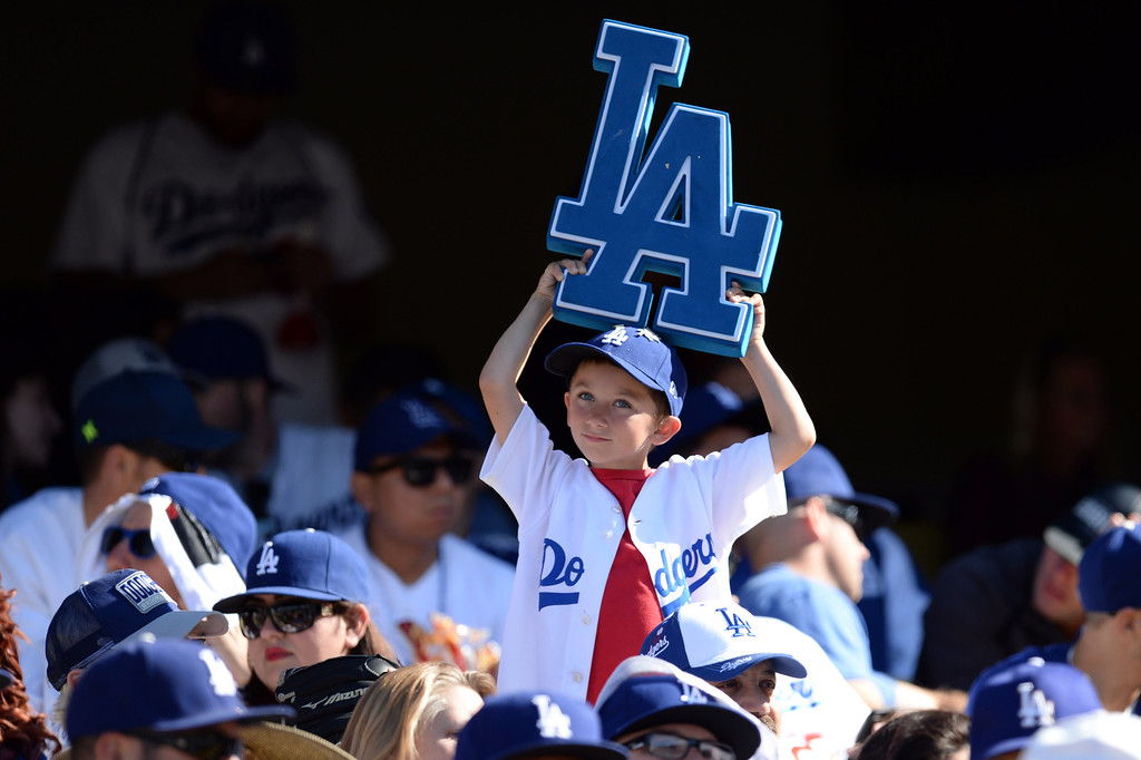 . Fans during the Dodgers home opener against the Giants at Dodger Stadium Friday 4, 2014. The Giants beat the Dodgers 8-4.  (Photo by Hans Gutknecht/Los Angeles Daily News)
