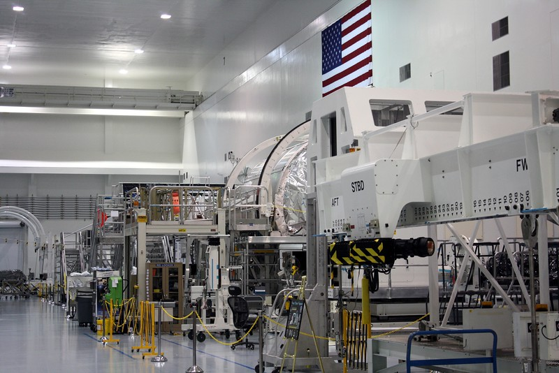 Future parts of the International Space Station, on the floor of the Space Station Processing Facility