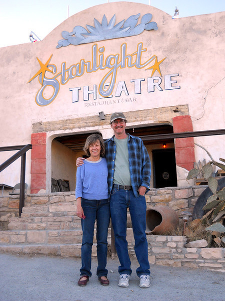 AT THE STARLIGHT Lani and Dale in front of one of the areas main attractions, the Starlight Theatre. It was named that back in the mining days, as it had no roof. It does now, but they still kept the name.
