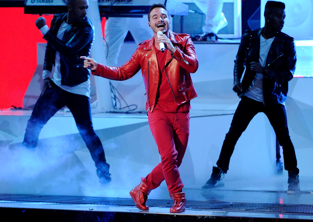 . J Balvin performs on stage at the 15th annual Latin Grammy Awards at the MGM Grand Garden Arena on Thursday, Nov. 20, 2014, in Las Vegas. (Photo by Chris Pizzello/Invision/AP)