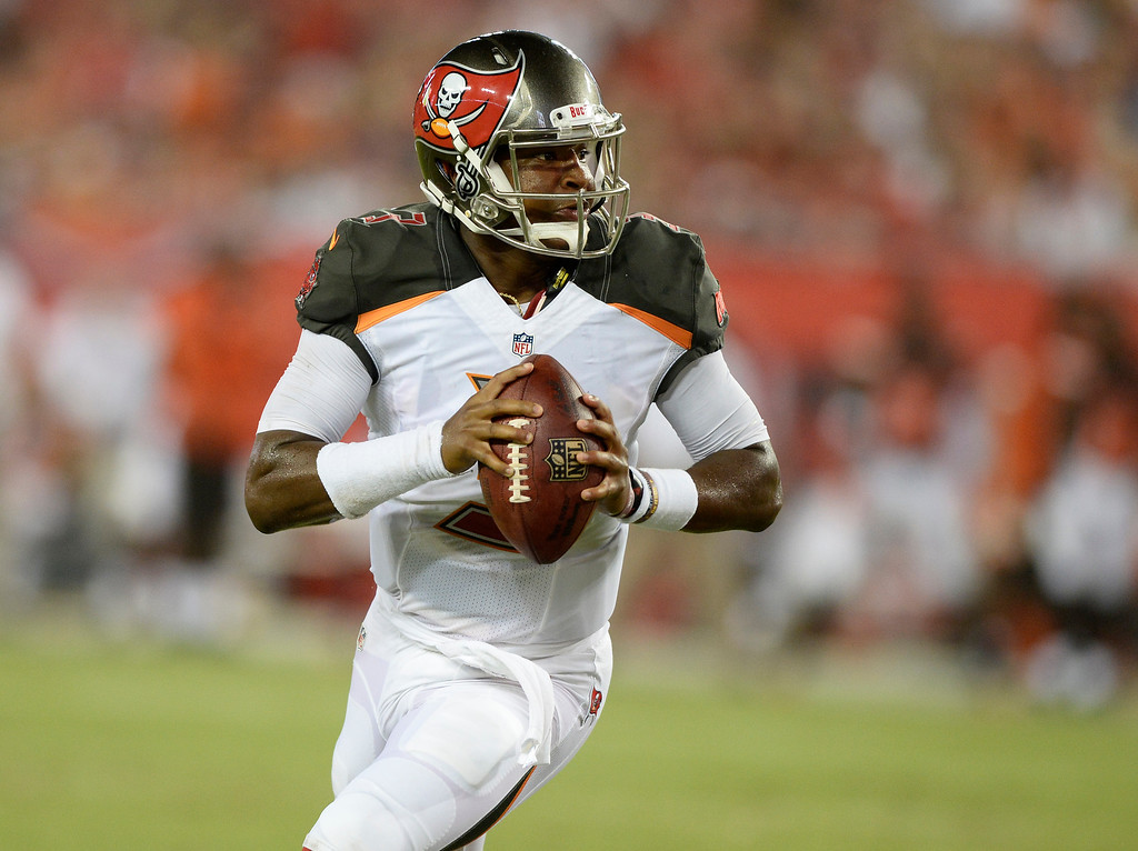 . Tampa Bay Buccaneers quarterback Jameis Winston (3) scrambles against the Cleveland Browns during the first quarter of an NFL football game Friday, Aug. 26, 2016, in Tampa, Fla. (AP Photo/Jason Behnken)