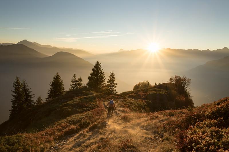 Tom Coney near Chalets de Pormenaz at sunset, Servoz, Mont Blanc