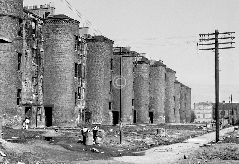 The monumental stair towers at the back of Abbotsford Place.    April 1973