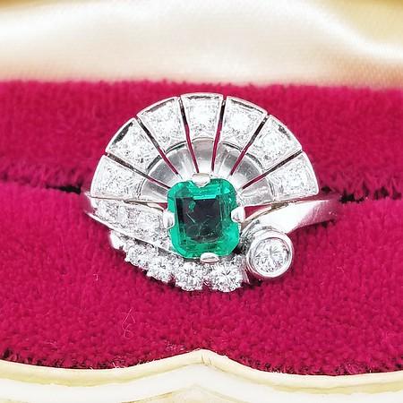 0.75ct Emerald in Retro Diamond Spray Ring