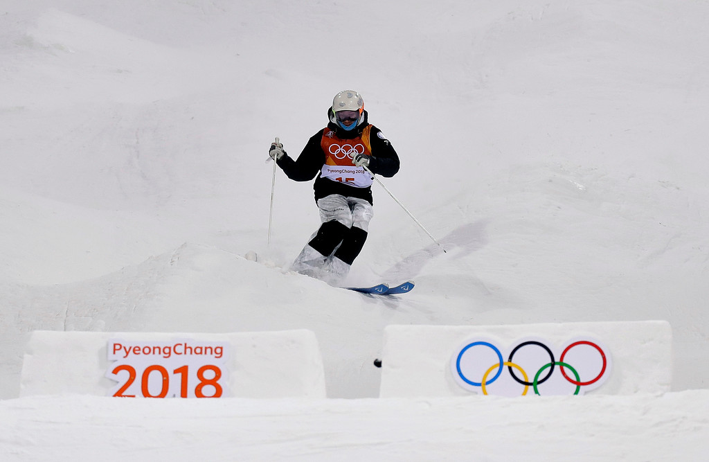 . Russian athlete Ekaterina Stolyarova runs the course during the women\'s moguls finals at Phoenix Snow Park at the 2018 Winter Olympics in Pyeongchang, South Korea, Sunday, Feb. 11, 2018. (AP Photo/Kin Cheung)
