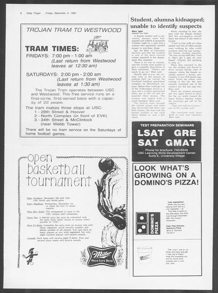 Daily Trojan, Vol. 92, No. 59, December 03, 1982