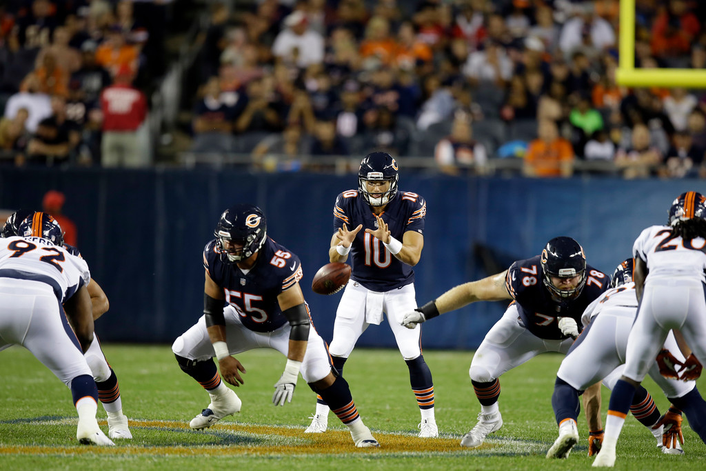 . Chicago Bears quarterback Mitchell Trubisky (10) calls a play during the first half of an NFL preseason football game against the Denver Broncos, Thursday, Aug. 10, 2017, in Chicago. (AP Photo/G-Jun Yam)
