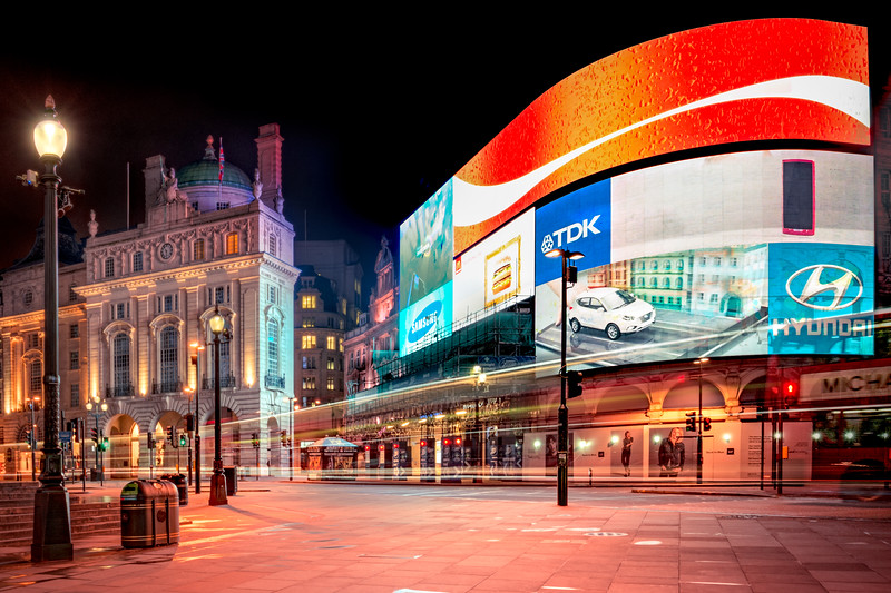 Deserted Piccadilly Circus with Fast Bus