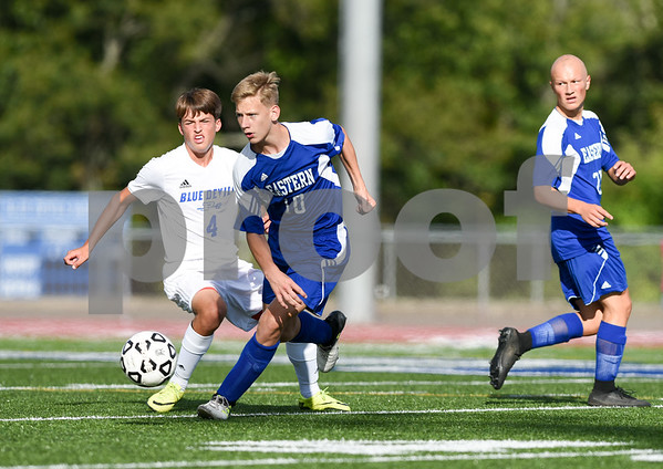 09/08/17 Wesley Bunnell   Staff Plainville Boys Soccer defeated visiting Bristol Eastern on Friday afternoon. Plainvilles Brady Beauseli (4) and Bristol Easterns Jake Woznicki #10.