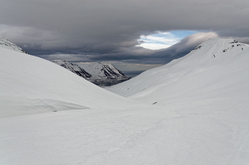 Climbing Holsfjall through Skutudalur