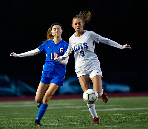 11/23/2019 Mike Orazzi | Staff Glastonbury High School's Jaci Budaj (3) and Southington High School's Brianna Linehan (15) during the Class LL Girls State Soccer Tournament at Veterans Stadium in New Britain Saturday evening. Glastonbury defeated Southington 1-0.
