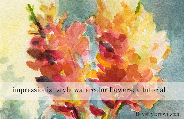 impressionist watercolor flowers step by step tutorial