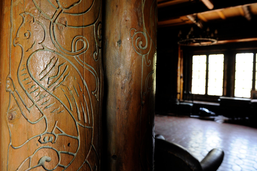 . PINE, CO - APRIL 18: Detailed carvings in the kitchen of Baehrden Lodge on April 18, 2014, in Pine, Colorado. The lodge was built in 1927 to serve as a summer home for William A. Baehr -- a Chicago utilities magnate -- and his family. In 1986, Jefferson County Open Space acquired the property and slowly been renovating it ever since. Visitors can tour the property on Sundays, starting in June. (Photo by Anya Semenoff/The Denver Post)