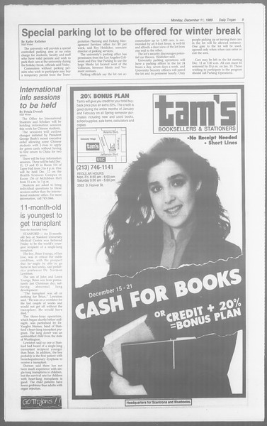 Daily Trojan, Vol. 110, No. 66, December 11, 1989