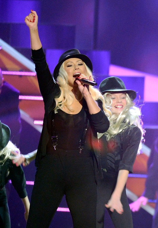 . LOS ANGELES, CA - MARCH 23:  Singer Christina Aguilera performs onstage during Nickelodeon\'s 26th Annual Kids\' Choice Awards at USC Galen Center on March 23, 2013 in Los Angeles, California.  (Photo by Kevork Djansezian/Getty Images for KCA)
