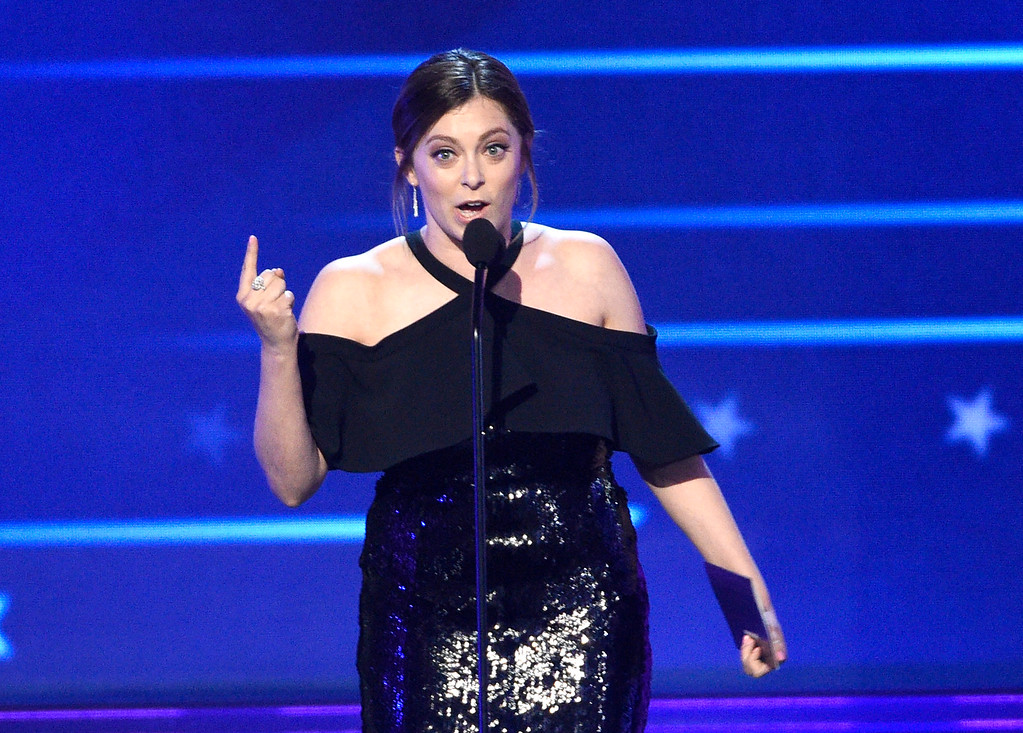 . Rachel Bloom presents the award for best actor in a comedy series at the 22nd annual Critics\' Choice Awards at the Barker Hangar on Sunday, Dec. 11, 2016, in Santa Monica, Calif. (Photo by Chris Pizzello/Invision/AP)