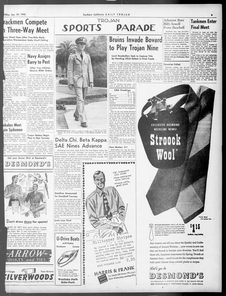 Daily Trojan, Vol. 33, No. 128, April 24, 1942