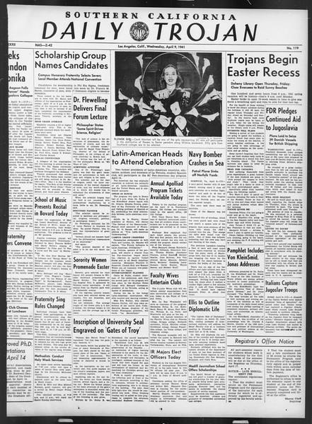 Daily Trojan, Vol. 32, No. 119, April 09, 1941