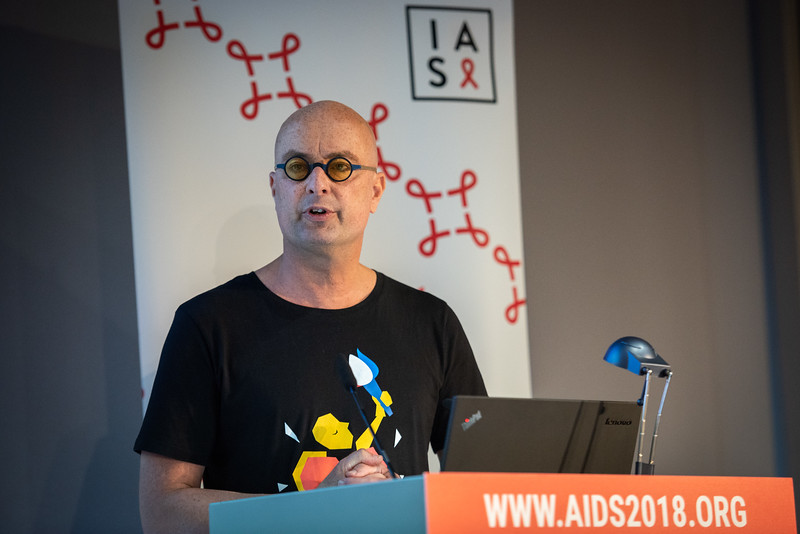22nd International AIDS Conference (AIDS 2018) Amsterdam, Netherlands.   Copyright: Steve Forrest/Workers' Photos/ IAS  Photo shows: HIV Cure, Research with the Community Workshop. Fred Verdult, from Volle Maan, Netherlands, speaking.