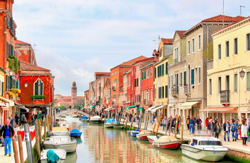 Murano is a series of islands linked by bridges in the Venetian Lagoon, about 2 miles northeast of Venice.