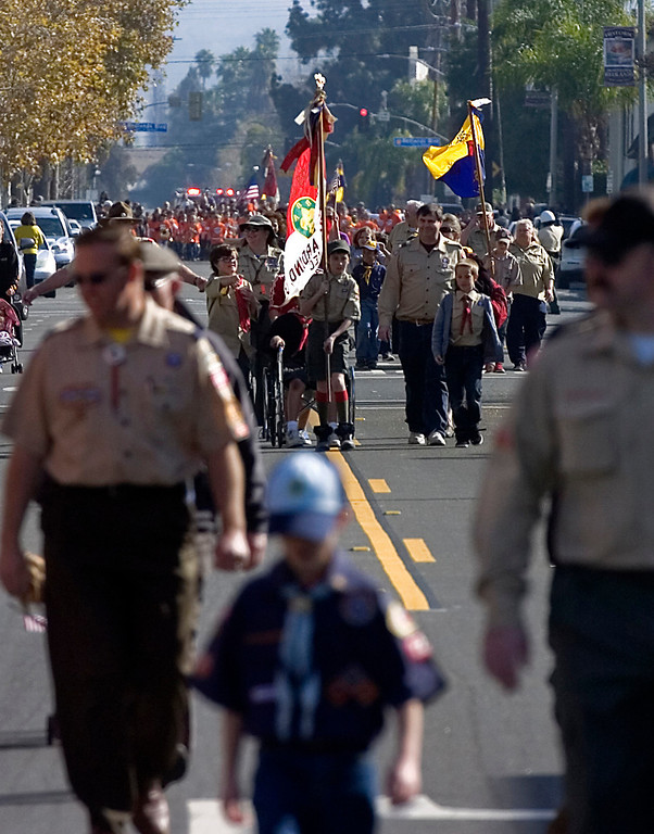 . Boy Scouts march westbound on Citrus Avenue during the 75th annual Lincoln Pilgrimage in Redlands, CA., Saturday, February 8, 2014. (Photo by Jennifer Cappuccio Maher/Inland Valley Daily Bulletin)