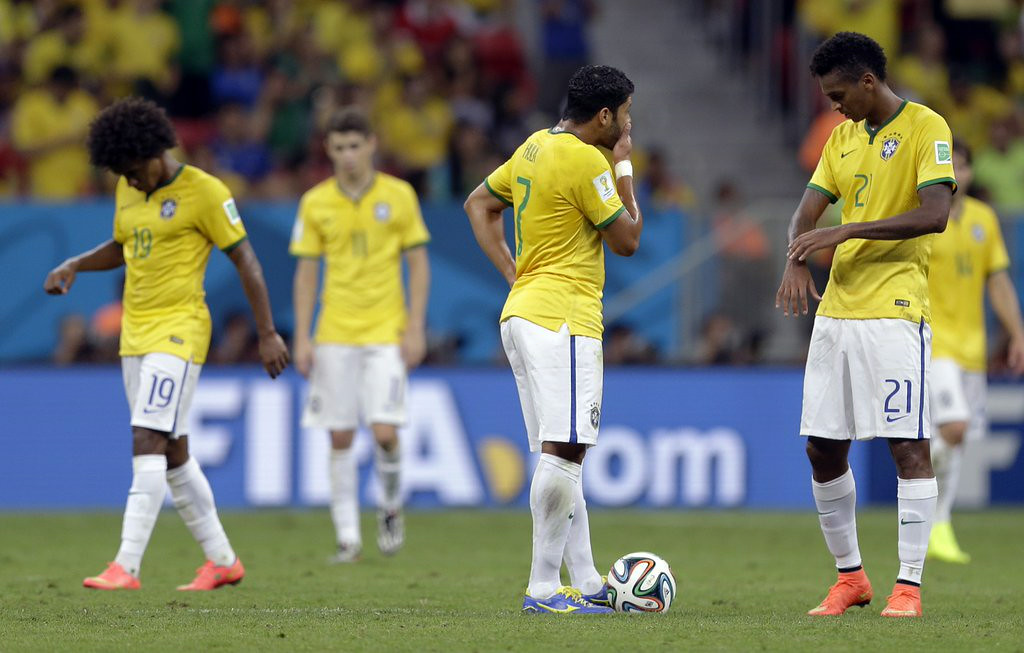 """. 10. (tie) BRAZIL <p>Congratulations! You�re now the Buffalo Bills of soccer. (previous ranking: unranked) </p><p><b><a href=\""""http://rt.com/news/172372-brazil-netherlands-world-cup/\"""" target=\""""_blank\""""> LINK</a></b> </p><p>    (AP Photo/Andre Penner)</p>"""