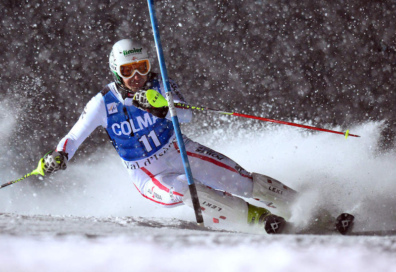 . Manfred Pranger of Austria clears a gate in his second run in the FIS Alpine World Cup Men\'s Slalom on December 8, 2012 in Val d\'Isere, French Alps. Alexis Pinturault of France won the race ahead Felix Neureuther of Germany and Marcel Hirscher of Austria. AFP PHOTO / FRANCK  FIFE/AFP/Getty Images