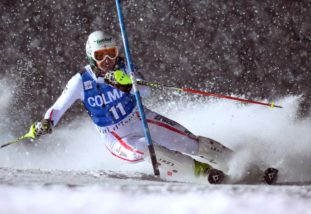 Description of . Manfred Pranger of Austria clears a gate in his second run in the FIS Alpine World Cup Men's Slalom on December 8, 2012 in Val d'Isere, French Alps. Alexis Pinturault of France won the race ahead Felix Neureuther of Germany and Marcel Hirscher of Austria. AFP PHOTO / FRANCK  FIFE/AFP/Getty Images