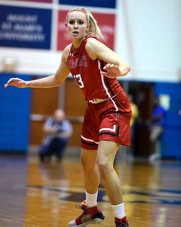1/19/2019 Mike Orazzi | Staff Saint Francis University's Sam Sabino (13) during Saturday's women's basketball game with CCSU in New Britain.