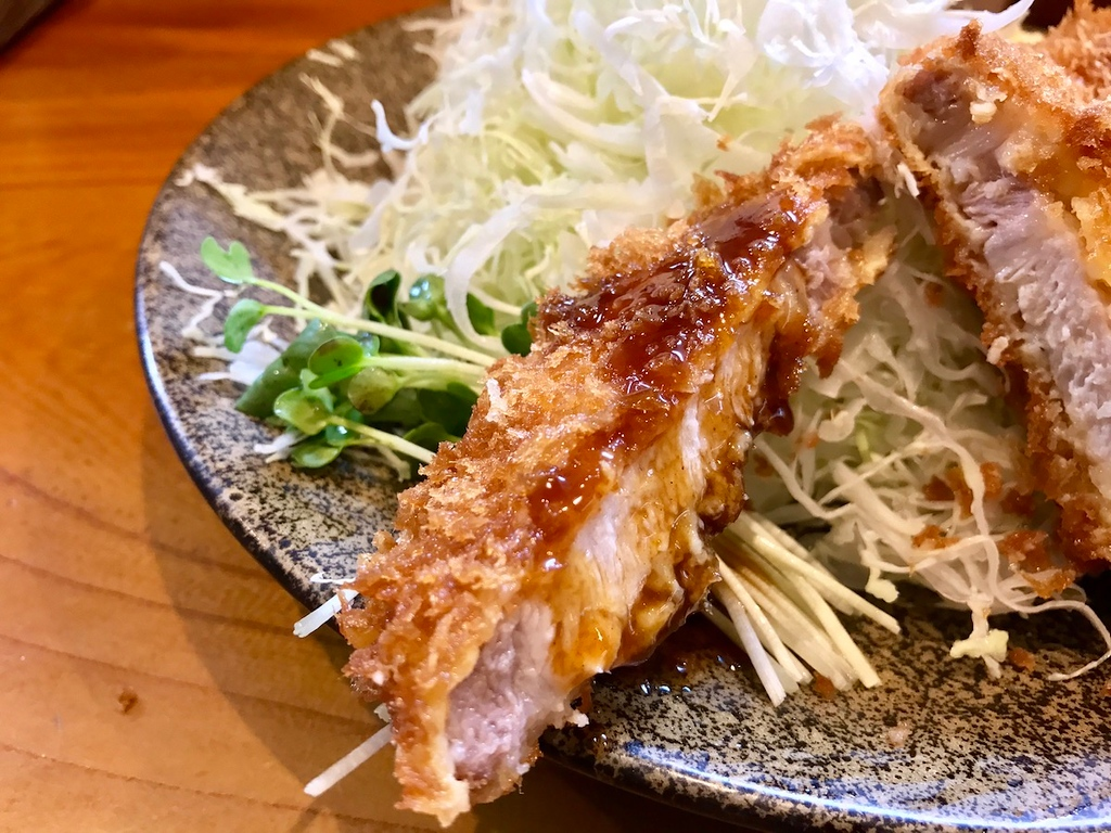 Tonkatsu with a little sauce dribbled on.
