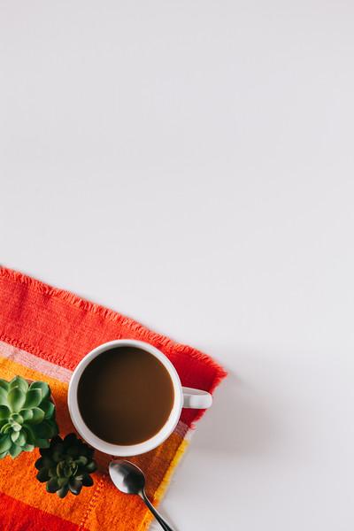 Orange, Red, & Green Coffee Flat Lay