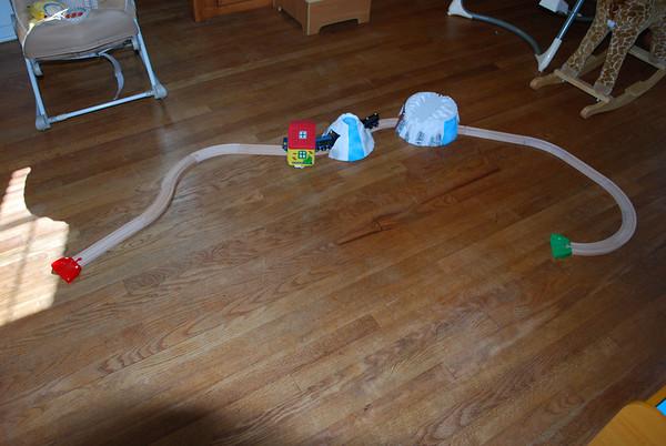 Riley Builds Train Tracks!