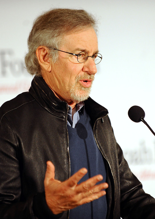 . Steven Spielberg speaks during a meeting to announce that USC will establish the Center for Advanced Genocide Research which will serve as the research and scholarship unit of the Shoah Foundation April 25, 2014 (Andy Holzman/Los Angeles Daily News)