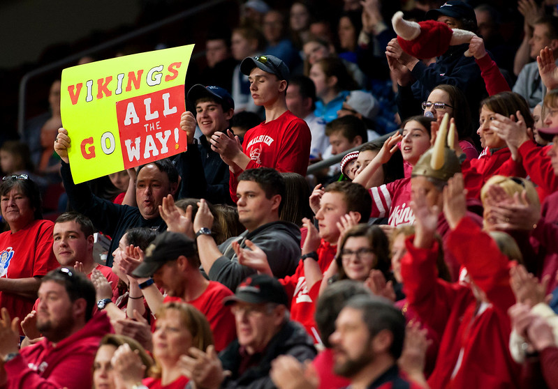 BANGOR, Maine -- 03/04/2017 -- Vinalhaven fans cheer on their team during their Class D girls basketball state championship against Shead at the Cross Insurance Center in Bangor Saturday. Ashley L. Conti | BDN