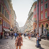 Woman walking and shopping in Nice, France