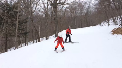 Ruby and Dad Skiing 2014