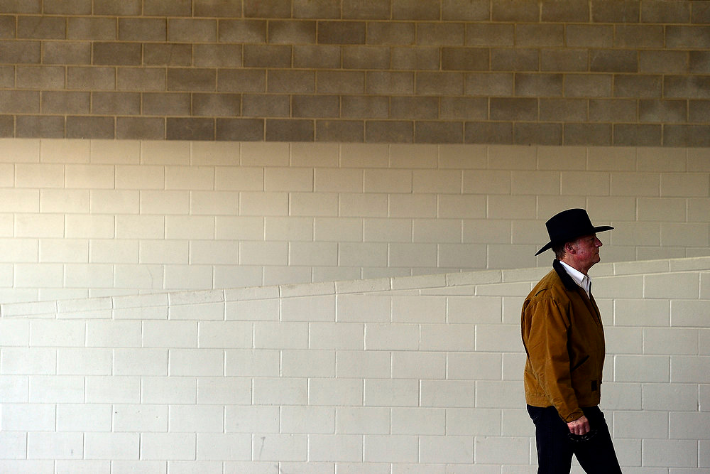 . Chris Whitney walks into the Events Center as vendors and volunteers work in preparation for the National Western Stock Show at the complex on Wednesday, January 9, 2012.