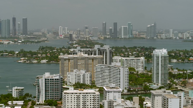 Aerial video Belle Isle and Venetian Islands Miami Beach telephoto drone footage