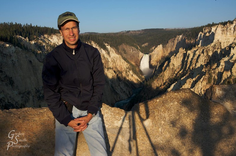 Gordon Smith self portrait at Artist's Point in Yellowstone National Park